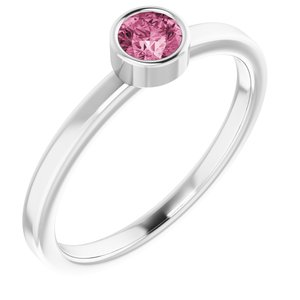 Rhodium-Plated Sterling Silver 4 mm Round Imitation Pink Tourmaline Ring