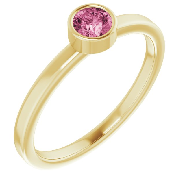 14K Yellow 4 mm Round Pink Tourmaline Ring