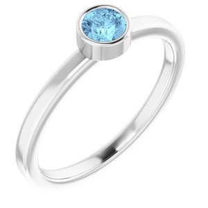 14K White 4 mm Round Aquamarine Ring