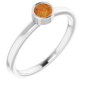 14K White 4 mm Round Citrine Ring