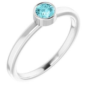 14K White 4 mm Round Blue Zircon Ring