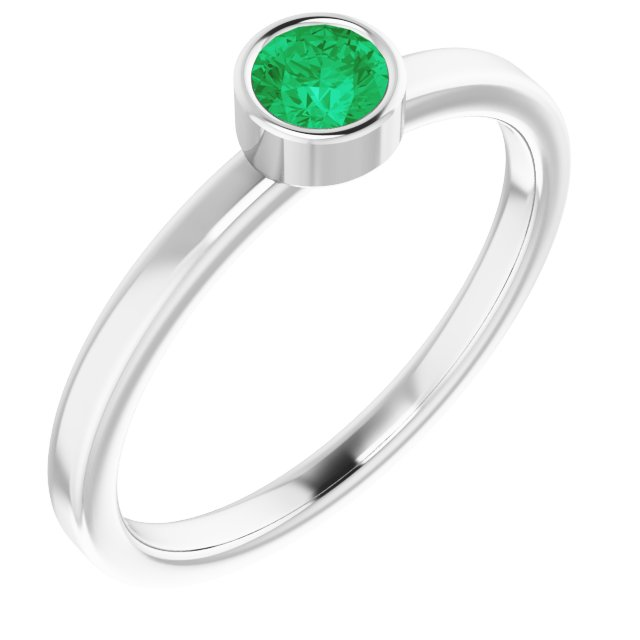 Rhodium-Plated Sterling Silver 4 mm Round Imitation Emerald Ring