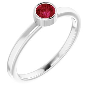 Rhodium-Plated Sterling Silver 4 mm Round Imitation Ruby Ring
