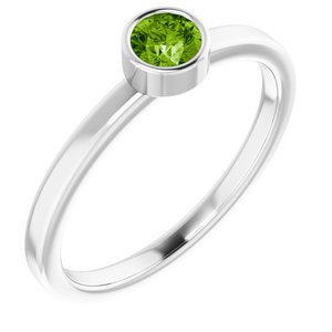 14K White 4 mm Round Peridot Ring