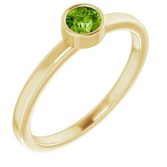 14K Yellow 4 mm Round Peridot Ring