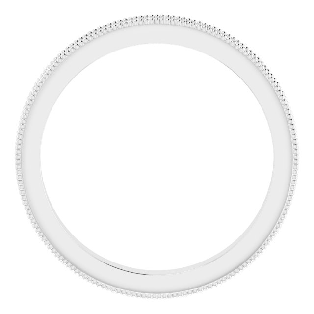 14K White 2.5 mm Sculptural-Inspired Band with Milgrain Size 6