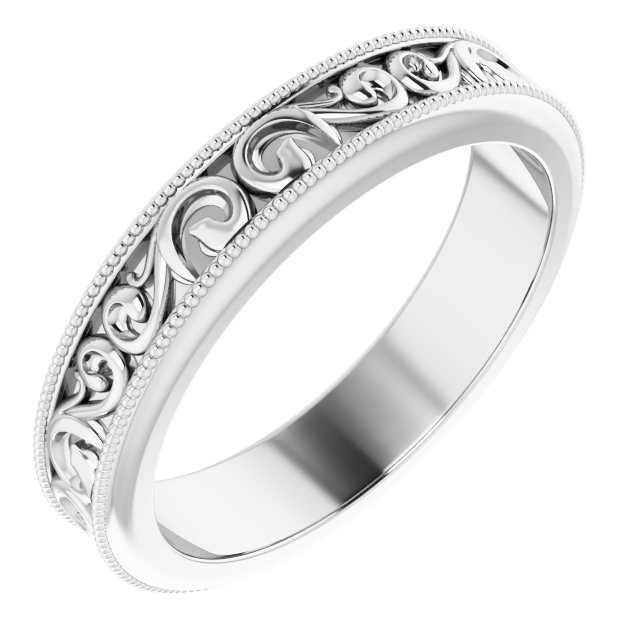 14K White 2.5 mm Sculptural-Inspired Band Size 6.5