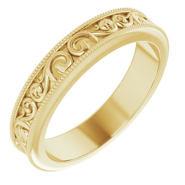 14K Yellow 4 mm Sculptural-Inspired Band Size 8