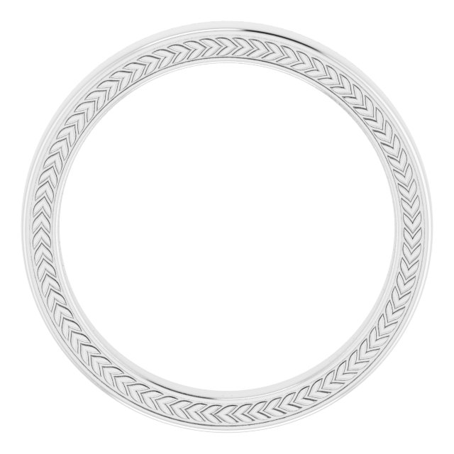 14K White 3 mm Wheat Pattern Band Size 7