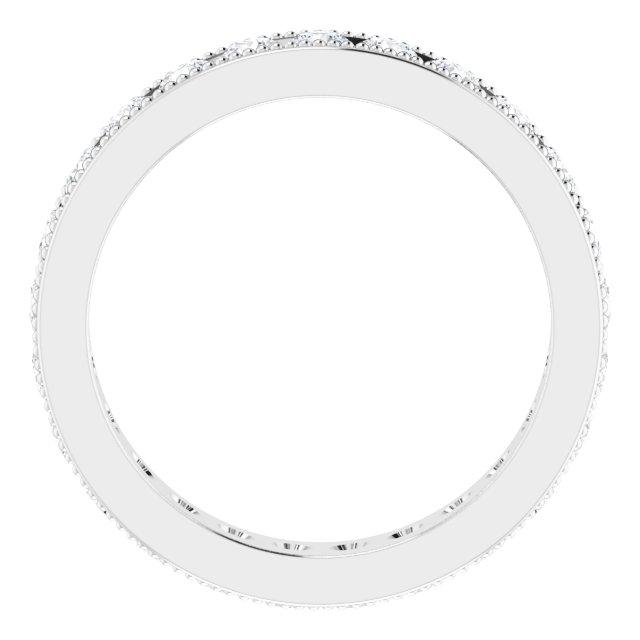 14K White 1 1/2 CTW Diamond Milgrain Eternity Band Size 7