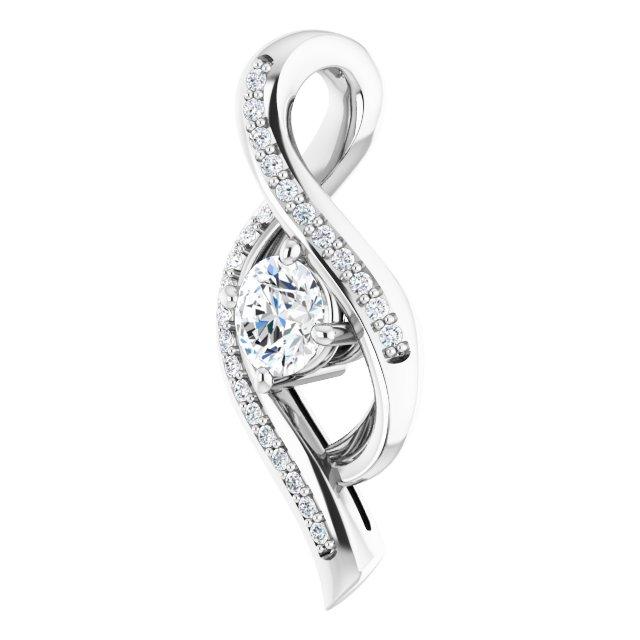 14K White 1/3 CTW Diamond Pendant