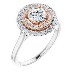 Double Halo-Style Engagement Ring