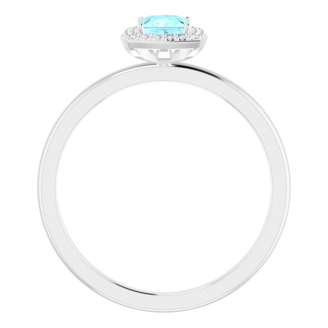 14K White Aquamarine & .05 CTW Diamond Ring