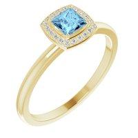 14K Yellow Aquamarine & .05 CTW Diamond Ring
