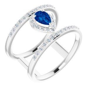 14K White Chatham® Created Blue Sapphire & 1/3 CTW Diamond Ring