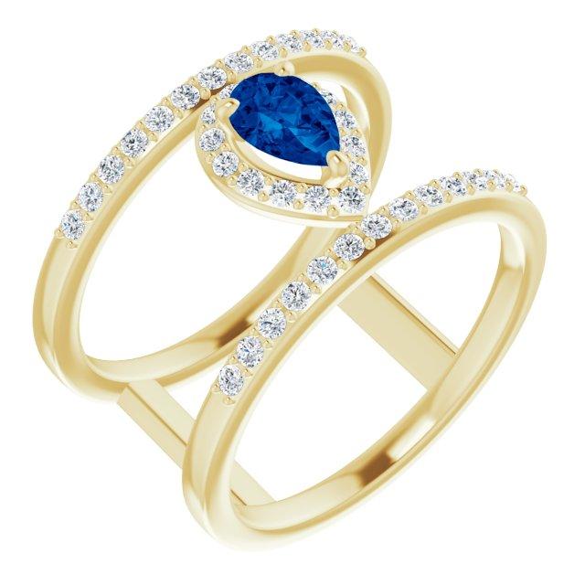 14K Yellow Lab-Grown Blue Sapphire & 1/3 CTW Diamond Ring