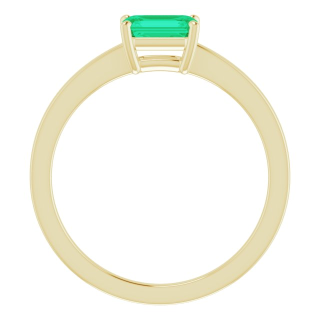 14K Yellow Lab-Grown Emerald Ring
