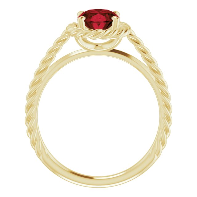 14K Yellow Mozambique Garnet Rope Ring