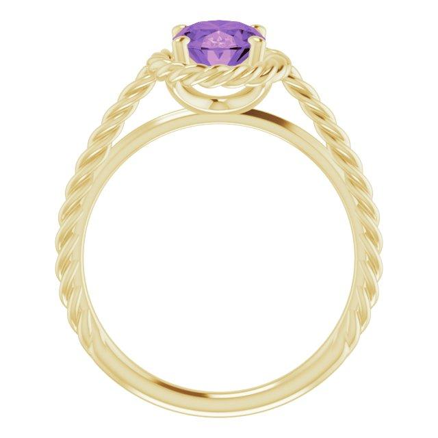 14K Yellow Amethyst Rope Ring