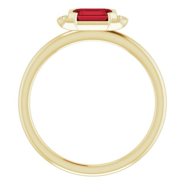 14K Yellow Mozambique Garnet & .02 CTW Diamond Stackable Ring