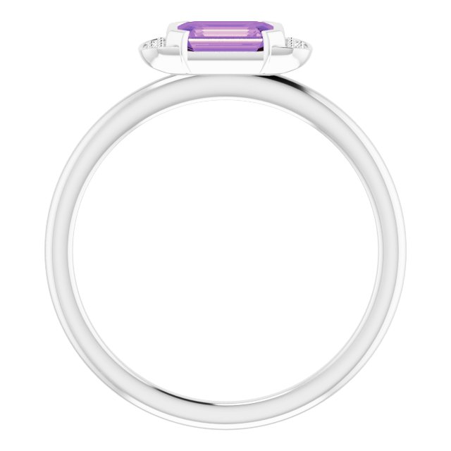 14K White Amethyst & .02 CTW Diamond Stackable Ring