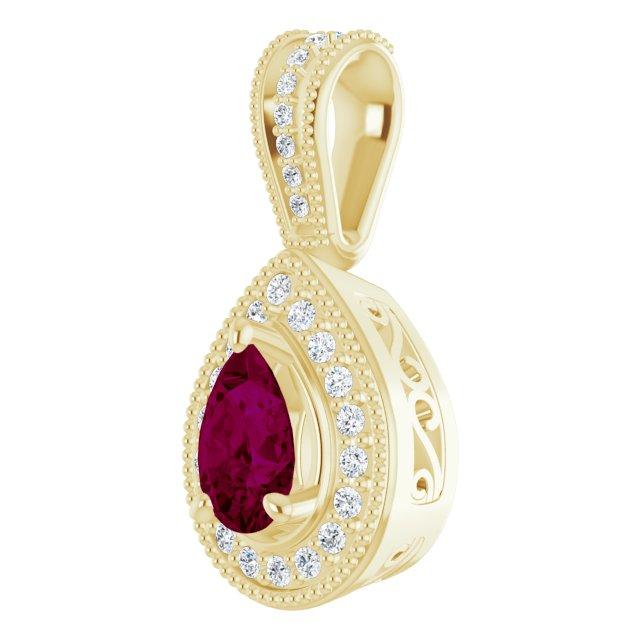 14K Yellow Rhodolite Garnet & 1/10 CTW Diamond Pendant