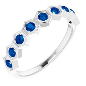 14K White Lab-Grown Blue Sapphire Stackable Ring