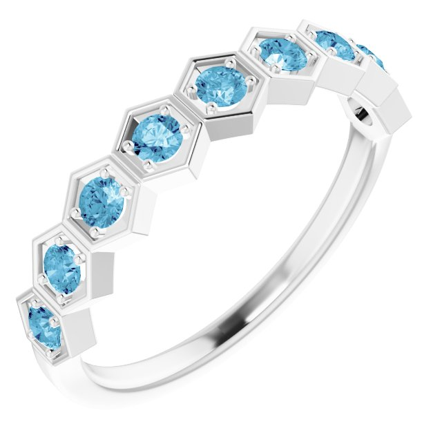 14K White 3/8 CTW Blue Lab-Grown Diamond Stackable Ring