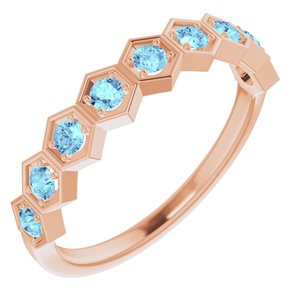 14K Rose Aquamarine Stackable Ring