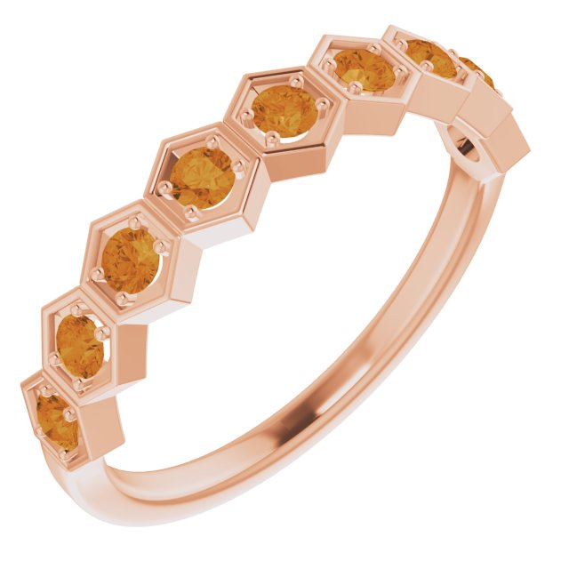14K Rose Citrine Stackable Ring