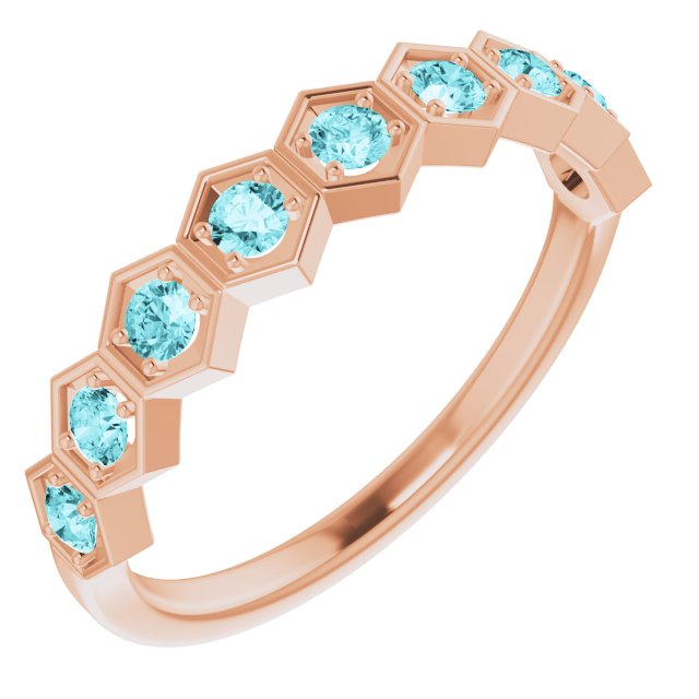 14K Rose Natural Blue Zircon Stackable Ring