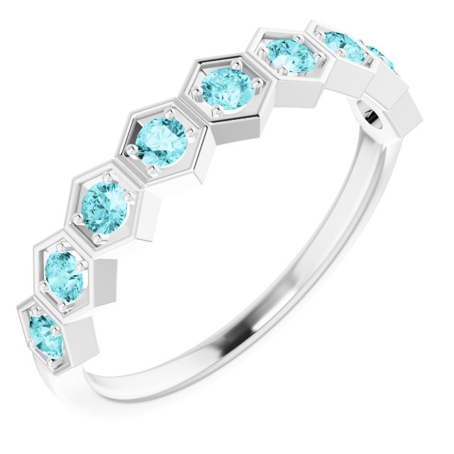 Sterling Silver Blue Zircon Stackable Ring