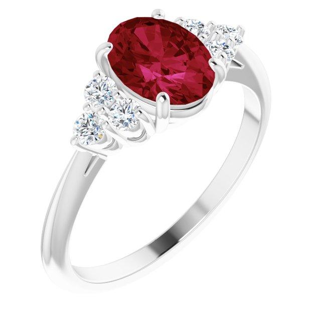 Platinum Lab-Grown Ruby & 1/6 CTW Diamond Ring
