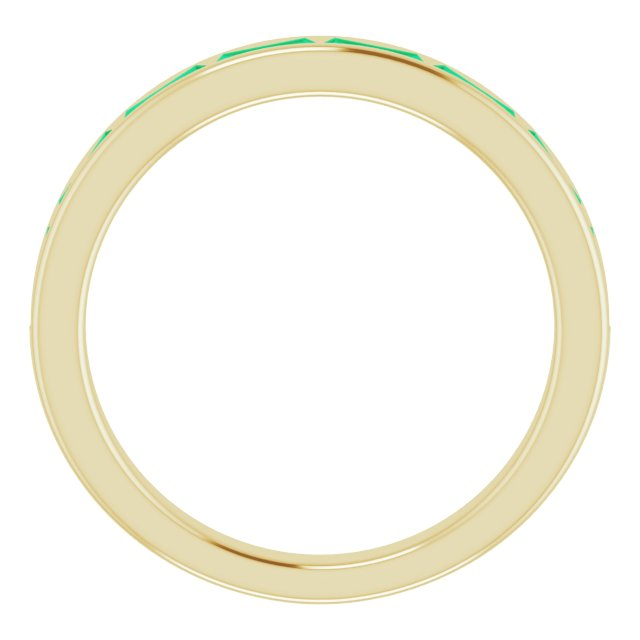 14K Yellow Lab-Grown Emerald Ring