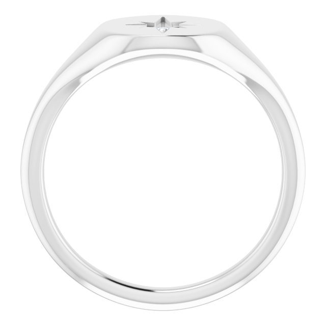Sterling Silver 11x10 Oval .02 CTW Natural Diamond Starburst Signet Ring