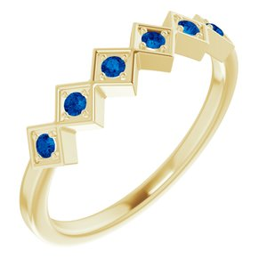 14K Yellow Blue Sapphire Stackable Ring