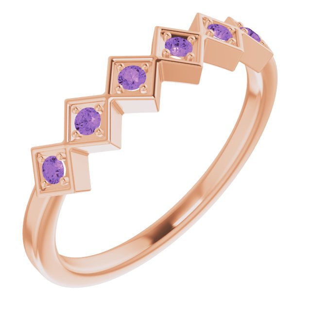 14K Rose Amethyst Stackable Ring