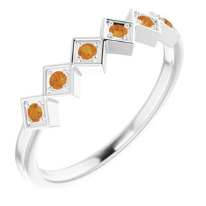 Sterling Silver Citrine Stackable Ring