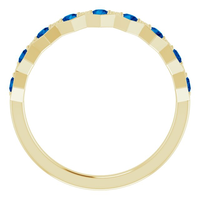 14K Yellow Natural Blue Sapphire Stackable Ring