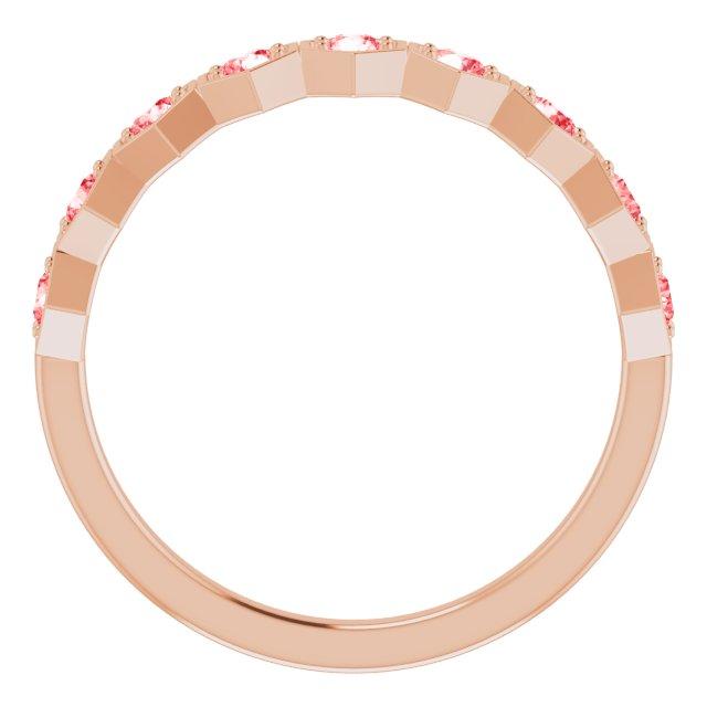 14K Rose 3/8 CTW Pink Lab-Grown Diamond Stackable Ring