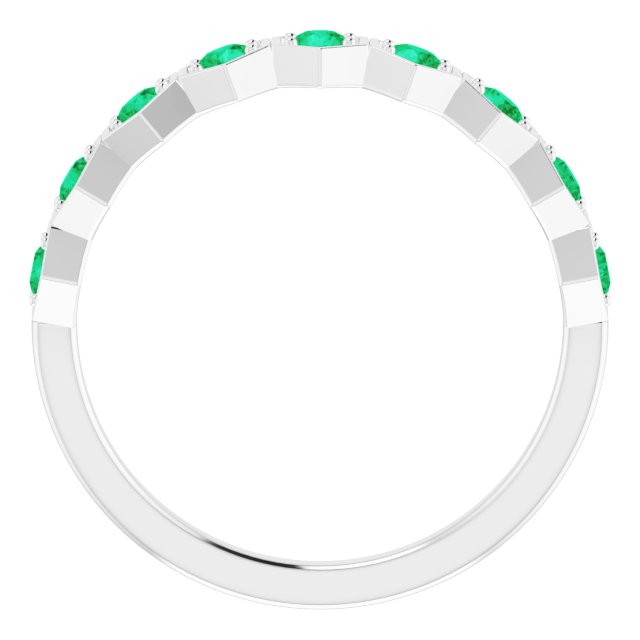 Sterling Silver Lab-Grown Emerald Stackable Ring