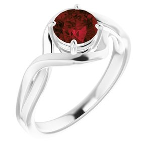 14K White Mozambique Garnet Ring