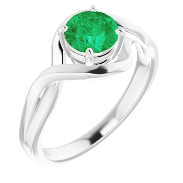 14K White Lab-Grown Emerald Ring