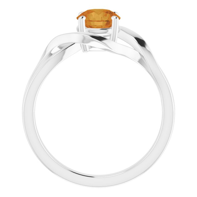 14K White Citrine Ring