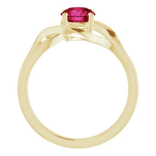 14K Yellow Lab-Grown Ruby Ring