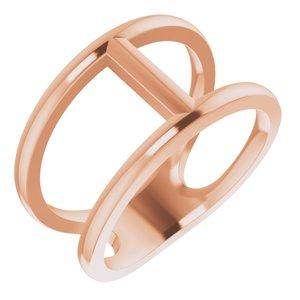 14K Rose 11.3 mm Negative Space Ring