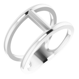 14K White 11.3 mm Negative Space Ring