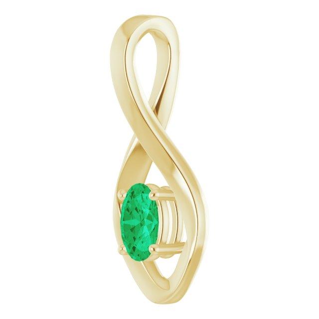 14K Yellow 6x4 mm Oval Lab-Grown Emerald Pendant