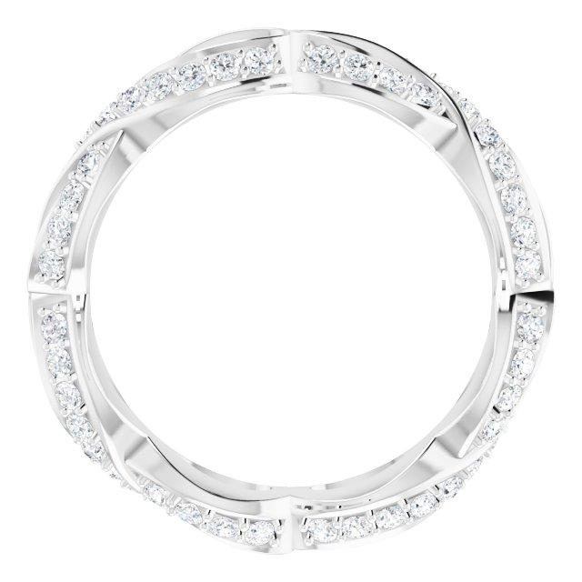14K White 1/2 CTW Diamond Sculptural-Inspired Eternity Band Size 7