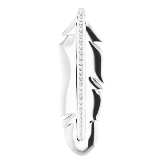 14K White .06 CTW Diamond Feather Pendant